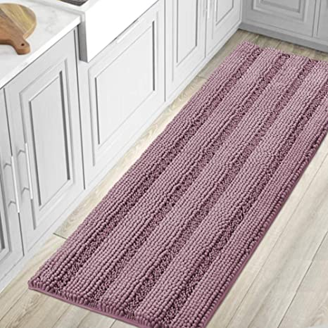 Amazon Com Bath Rugs For Bathroom Washable Non Slip Extra Thick Chenille Striped Bath Mat Rug Runners 59 X 20 Absorbent Fluffy Soft Shaggy Mats Dry Fast Plush Area Carpet For Bath Room