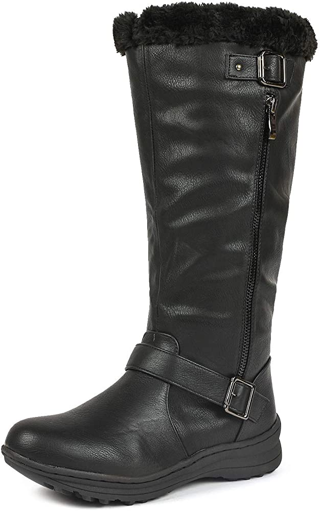 Winter Boots Black PU Size 5 Wide Calf