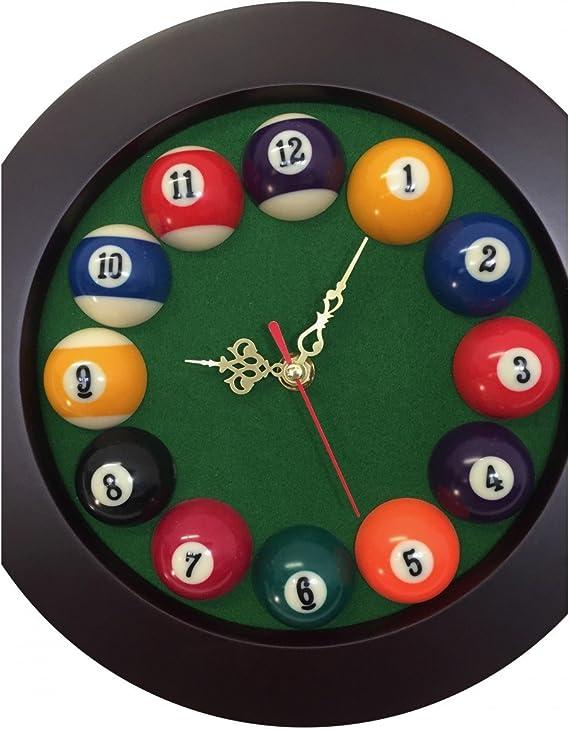 Reloj redonda en madera – horas de bolas de billar: Amazon.es: Hogar