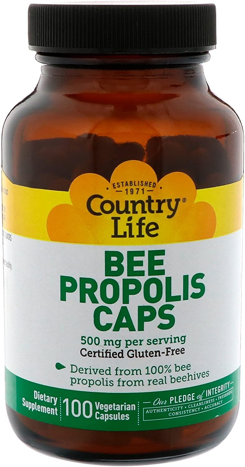 Country Life Bee Propolis 500mg Daily Supplement -100% Bee Pollen Extract Clean Immune Health Support - Gluten-Free, Soy-Free, Vegetarian, Kosher, No Fillers or Additives - 100 Veggie Caps