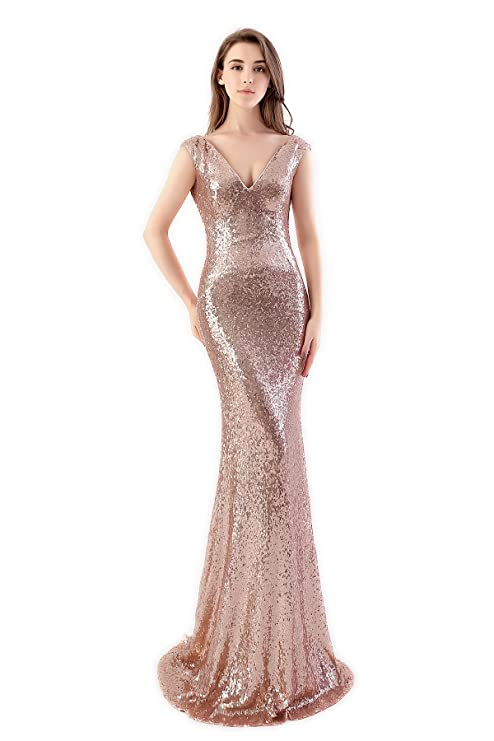 MisShow Women Bling Rose Gold Long Sequins Bridesmaid Dress Prom ...