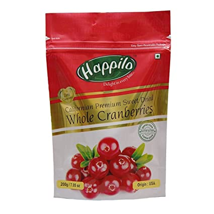 HappiloPremium Californian Dried Whole Cranberries, 200g (Pack of 5)
