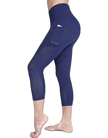 9a765f252ce06 Raypose High Waist Tummy Control Capri Yoga Pants Pocket for Women Workout  Running Capris Leggings