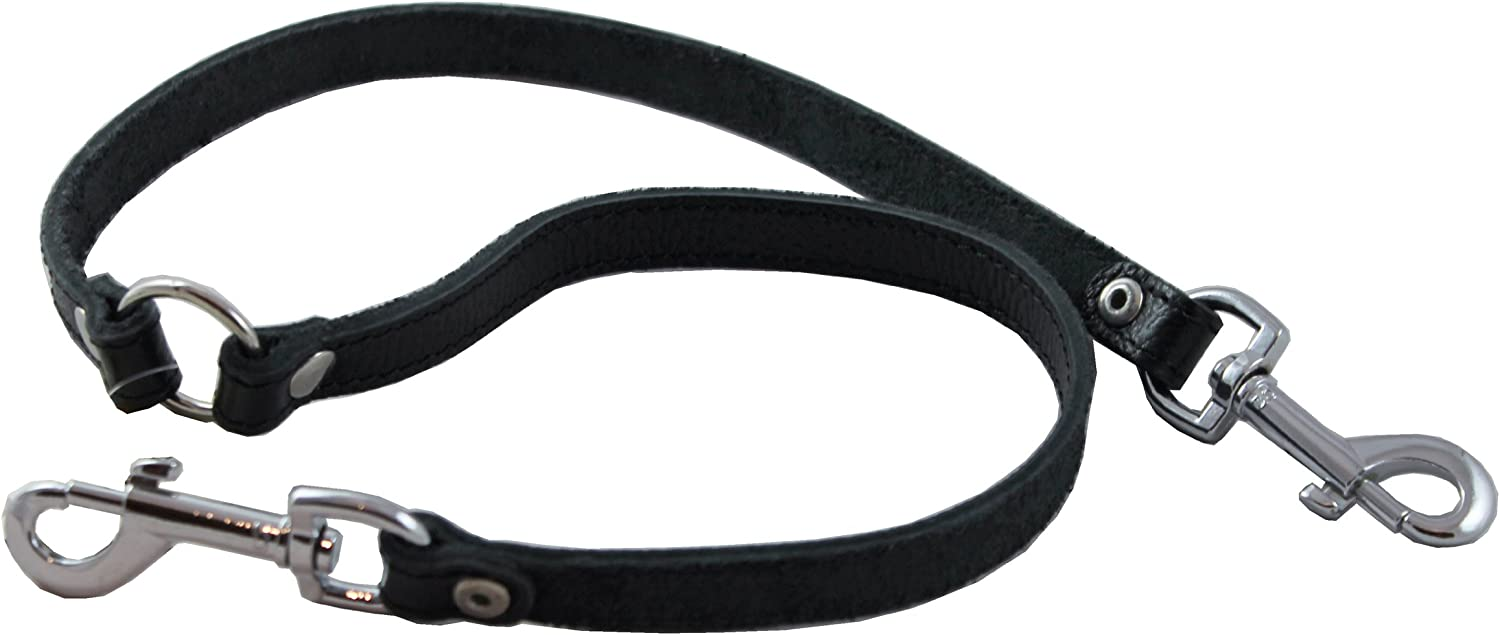 Two Dog Coupler Black, Medium: 15 Long by 5//8 Wide Genuine Leather Double Dog Leash