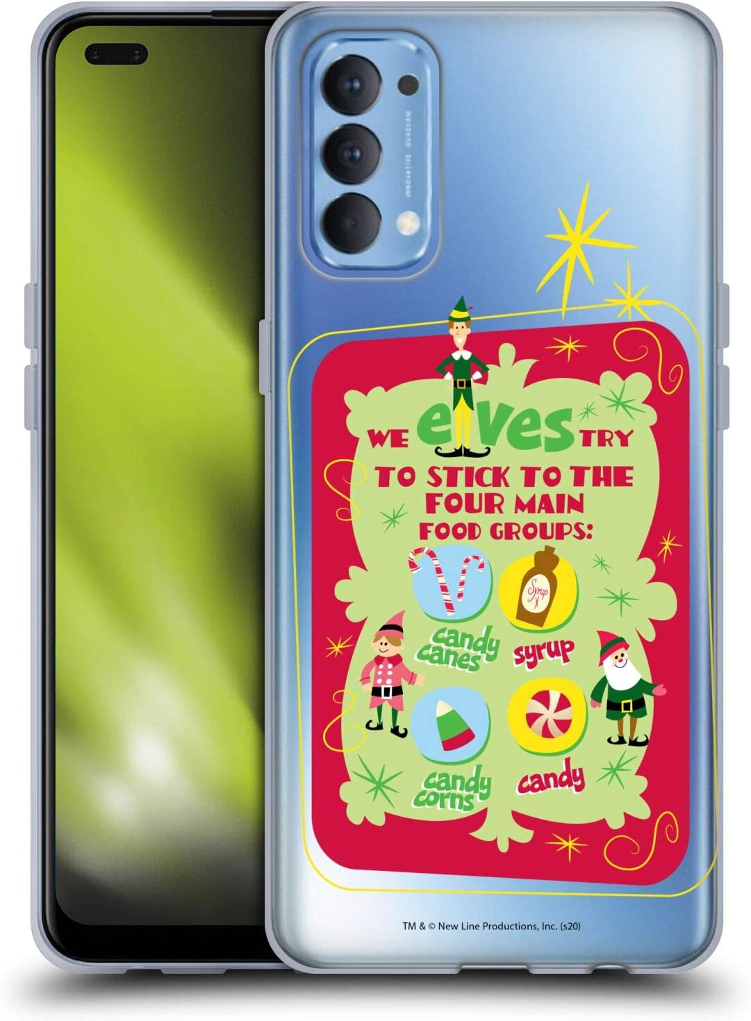 Head Case Designs Officially Licensed Elf Movie Food Groups Graphics 1 Soft Gel Case Compatible with Oppo Reno 4 5G