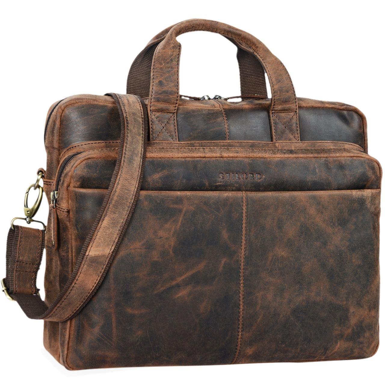 STILORD 'Verus' Vintage Ledertasche groß Aktentasche Laptoptasche Umhängetasche mit Reißverschluss und abnehmbaren Schultergurt Lehrertasche Leder, Farbe:brandy - braun