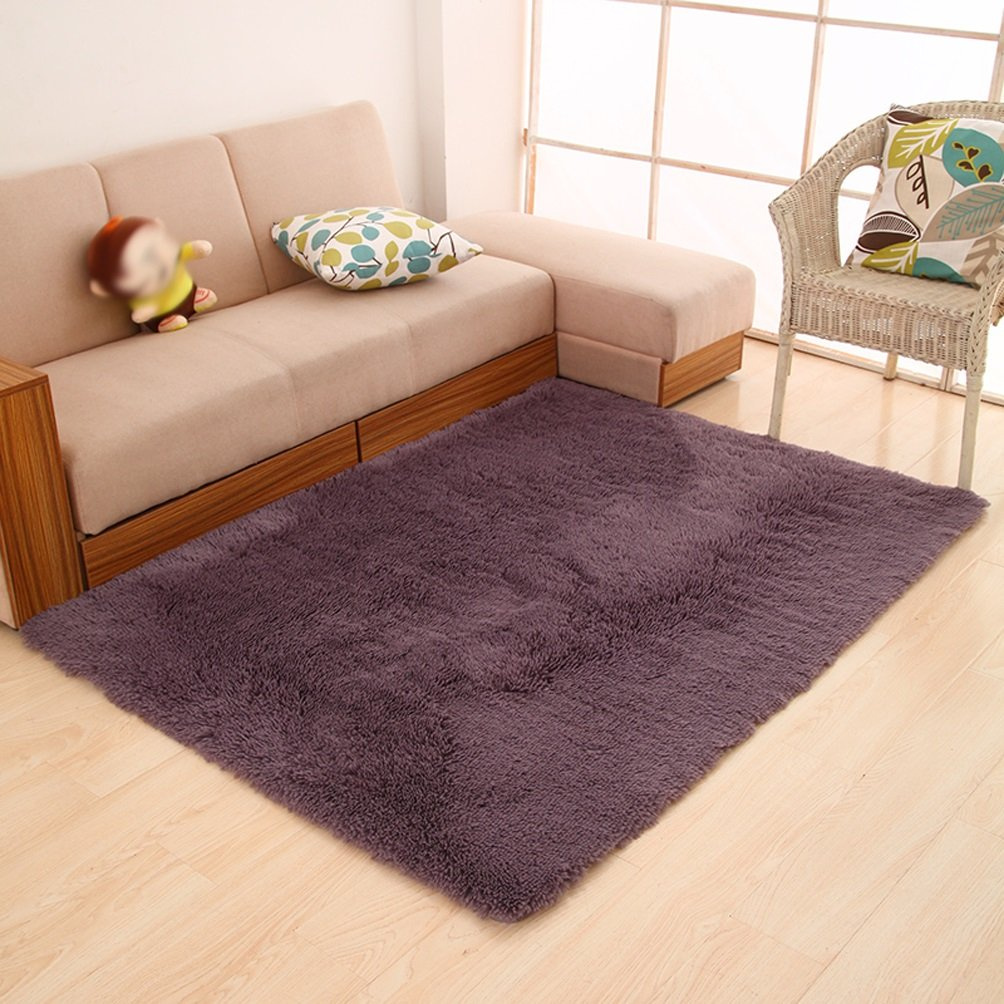 Rug WAN SAN QIAN- Children Bedroom Carpet Living Room Carpet Sofa Europe Princess Rectangle Thicker (Color : Purple, Size : 120x160cm)