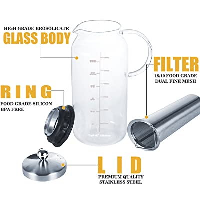 Tartek Large Glass Teapot with Infuser & Cold Brew Iced Coffee Maker