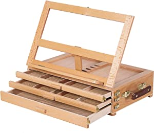 MEEDEN Large Adjustable Artist Tabletop Sketchbox Easel- Multi-Function Solid Beech Wood Storage Box Easel with 3-Drawer for Artist, Art Students & Beginners