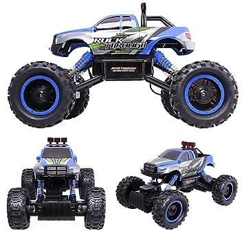 HUKOER RC Coche Rastreador de roca Teledirigido - 4x4 Carro de control remoto- 1/14 coche todoterreno rastreador de roca con Controlador de 2.4Ghz (Azul): ...