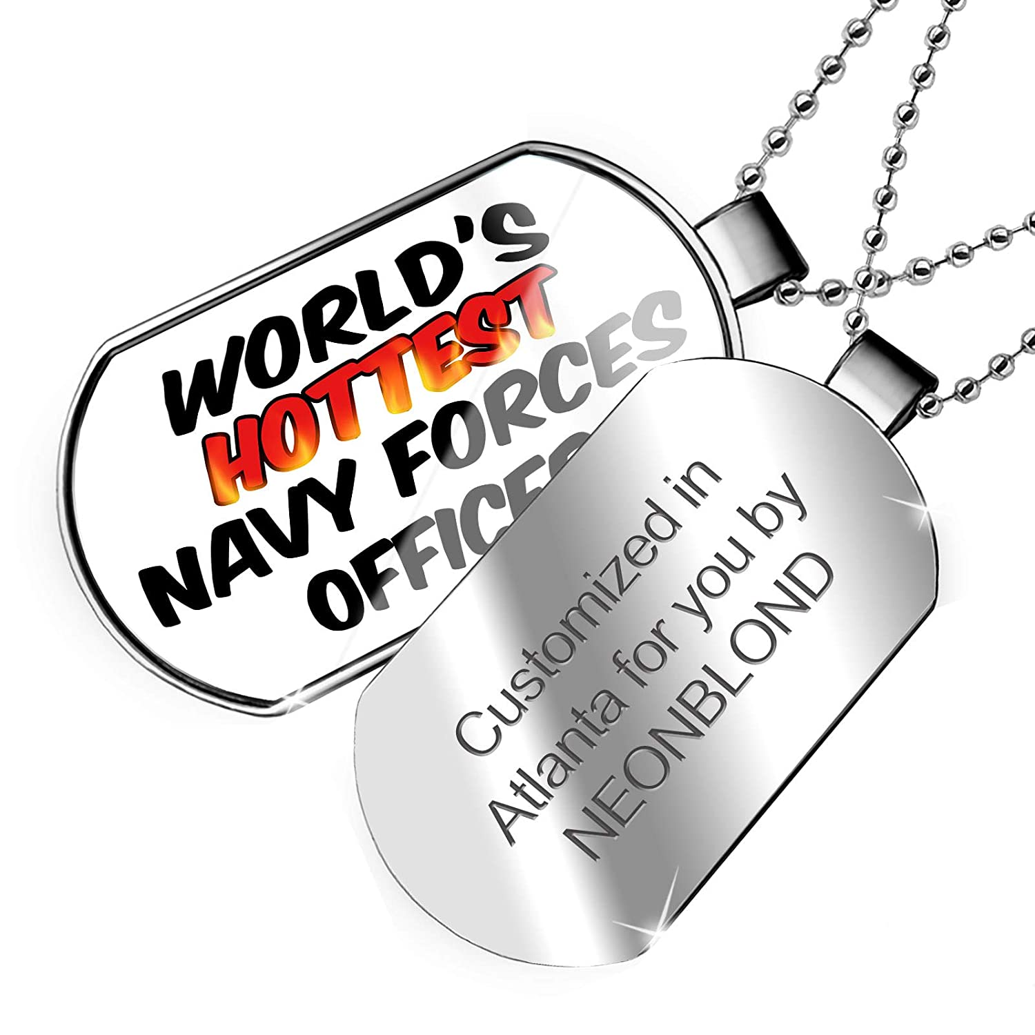 NEONBLOND Personalized Name Engraved Worlds Hottest Navy Forces Officer Dogtag Necklace