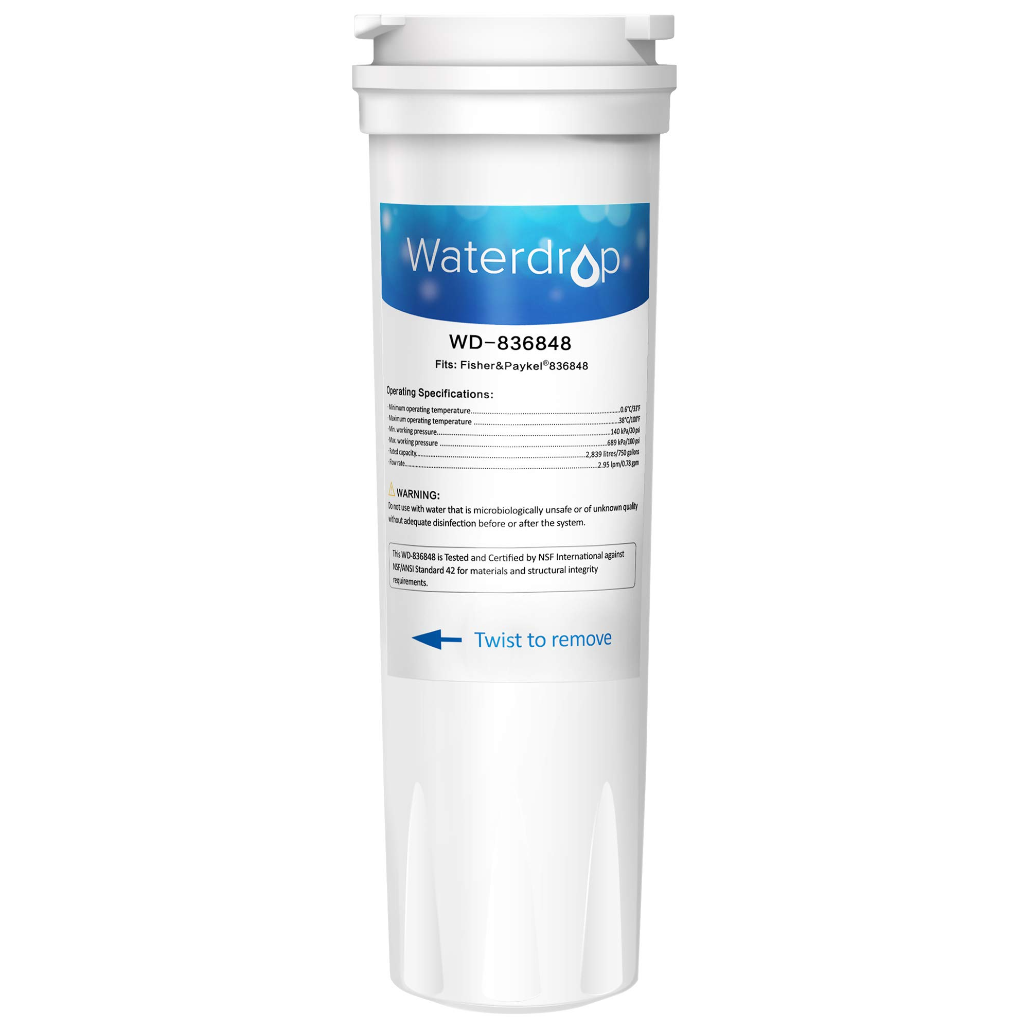 Waterdrop 836848 Replacement Refrigerator Water Filter, Compatible with Fisher & Paykel 836848, 836860, WF296, E522B, PS2067635