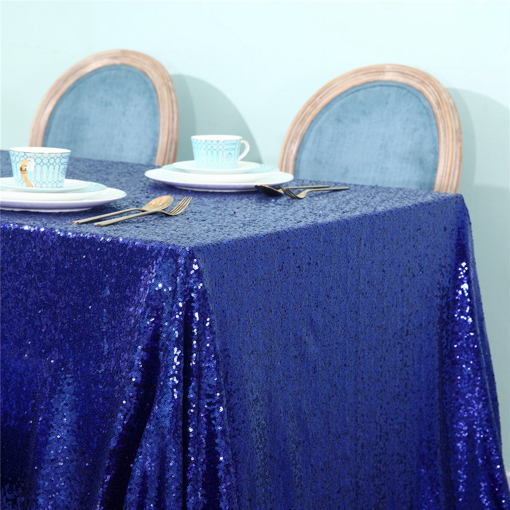 Zdada Royal Blue 55''x108'' Wedding Party Candy Buffet Sequin Tablecloth Sparkly Table Cover by Zdada