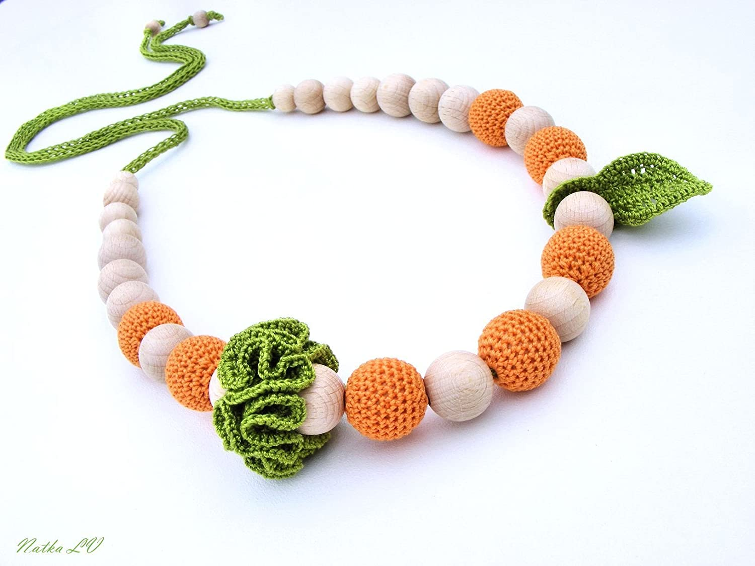 Orange nursing necklace, teething necklace, breastfeeding necklace, natural, wooden beads, cotton, green orange, unisex teething toy, fruit necklace, new baby gift, baby necklace