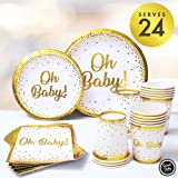 Sweet Baby Company Oh Baby Shower Plates and Napkins Neutral for Boy Or Girl with White and Gold Paper Plates, Cups, and Napkins | Disposable Tableware for 24 Guests | Party Supplies and Decorations