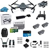 DJI Mavic PRO FLY MORE COMBO Portable Collapsible Mini Racing Drone with 3 Total Batteries, DJI Travel Bag + 64GB SD Card + 3.0 Card Reader, Car Charger, Koozam Cleaning Cloth