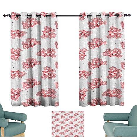 Amazon.com: Coral, cortinas pastel suave amapola flores en ...