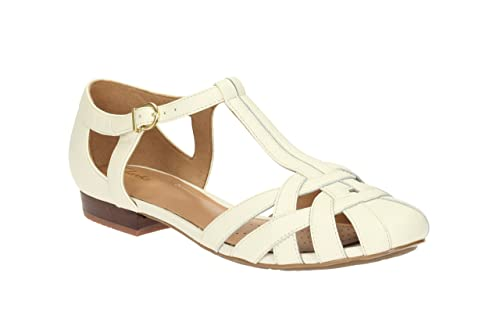 Clarks Womens Casual Clarks Henderson Luck Leather Shoes In Off White