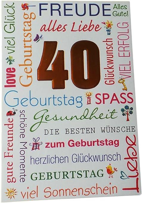 Biglietto Di Auguri Di Compleanno 40 Anni Gioia E Tutto
