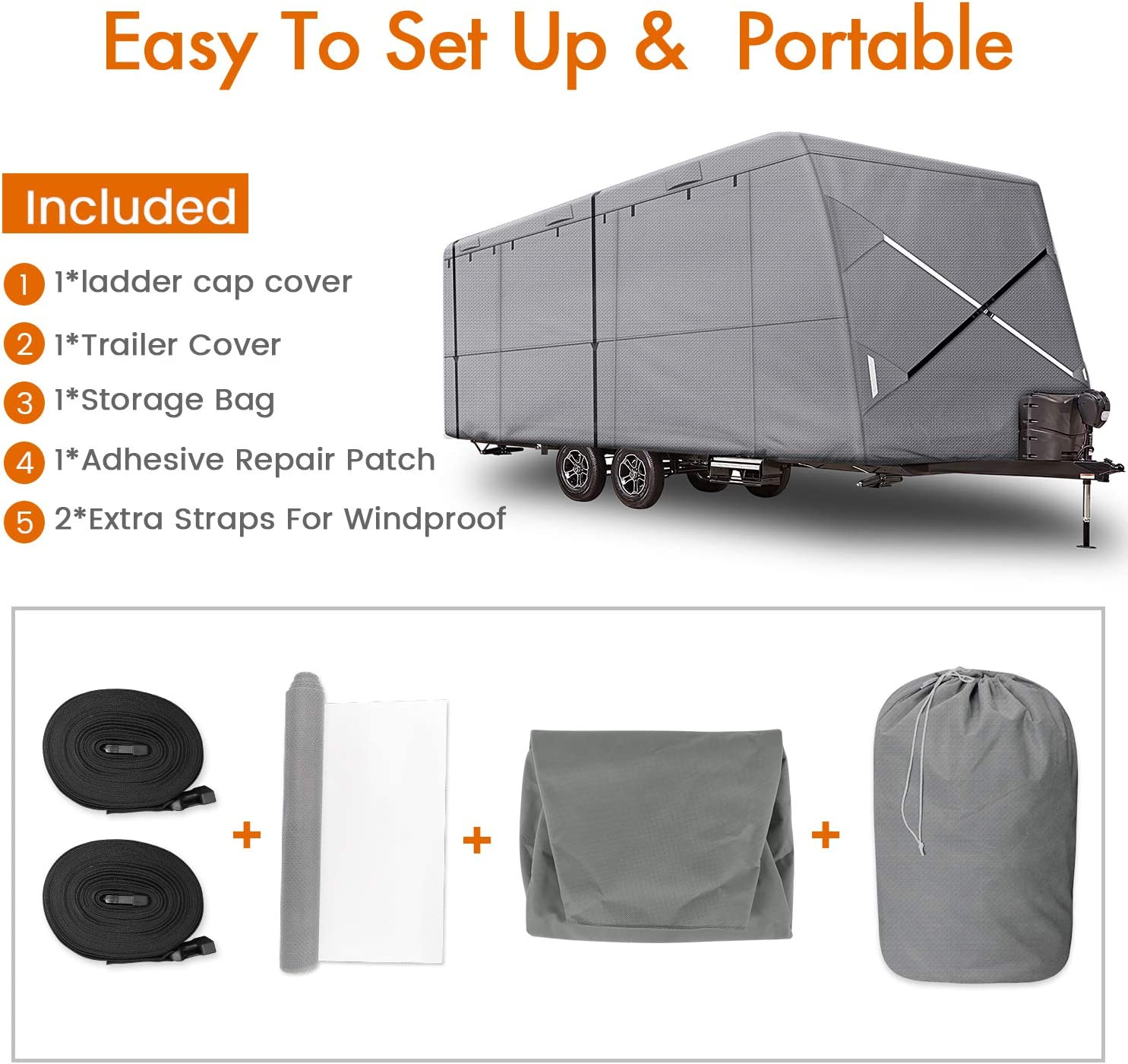 XGear Outdoors Travel Trailer RV Cover Fits 22-24 Travel Trailer or Toy Hauler Grey with 3-Ply Roof for Max Weather Protection