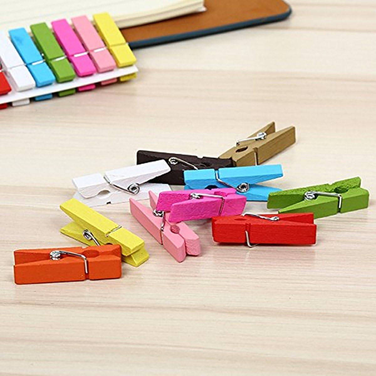 madera 3,5cm x 0,7cm Aleatorio Laat Mini pinzas colores madera natural para DIY decoraci/ón pared papel Photo y proyecto de artesan/ía 50pcs