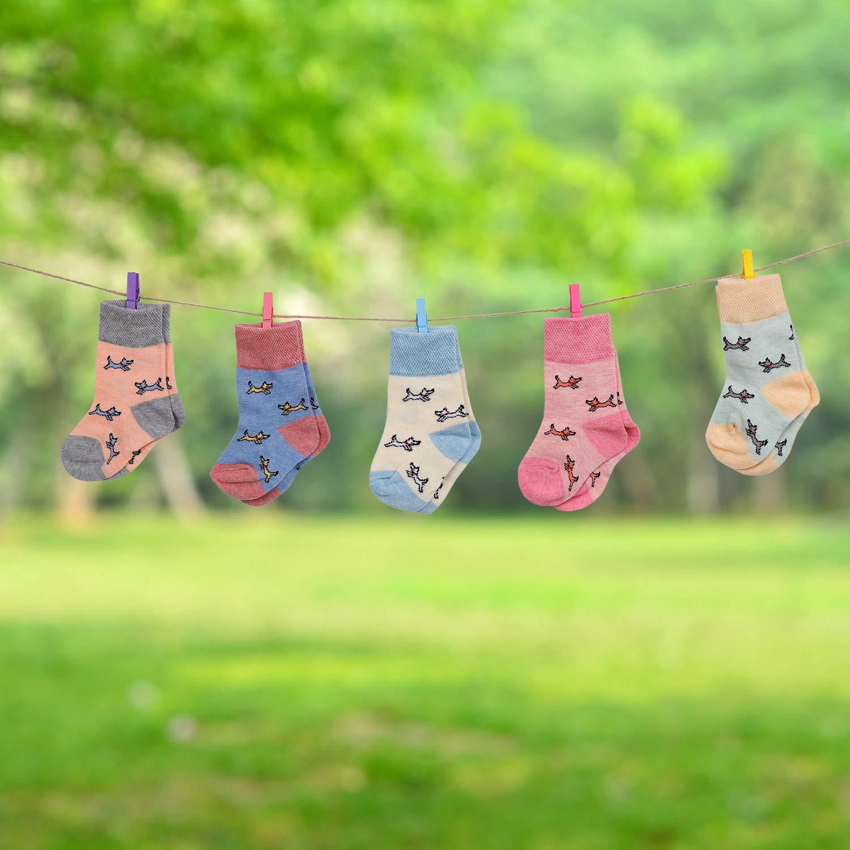 Calcetines de Beb/é 5 Pares Cute Calcetines Antideslizantes de Algod/ón Surtidos Animal Print para Beb/és Ni/ñas y Ni/ños