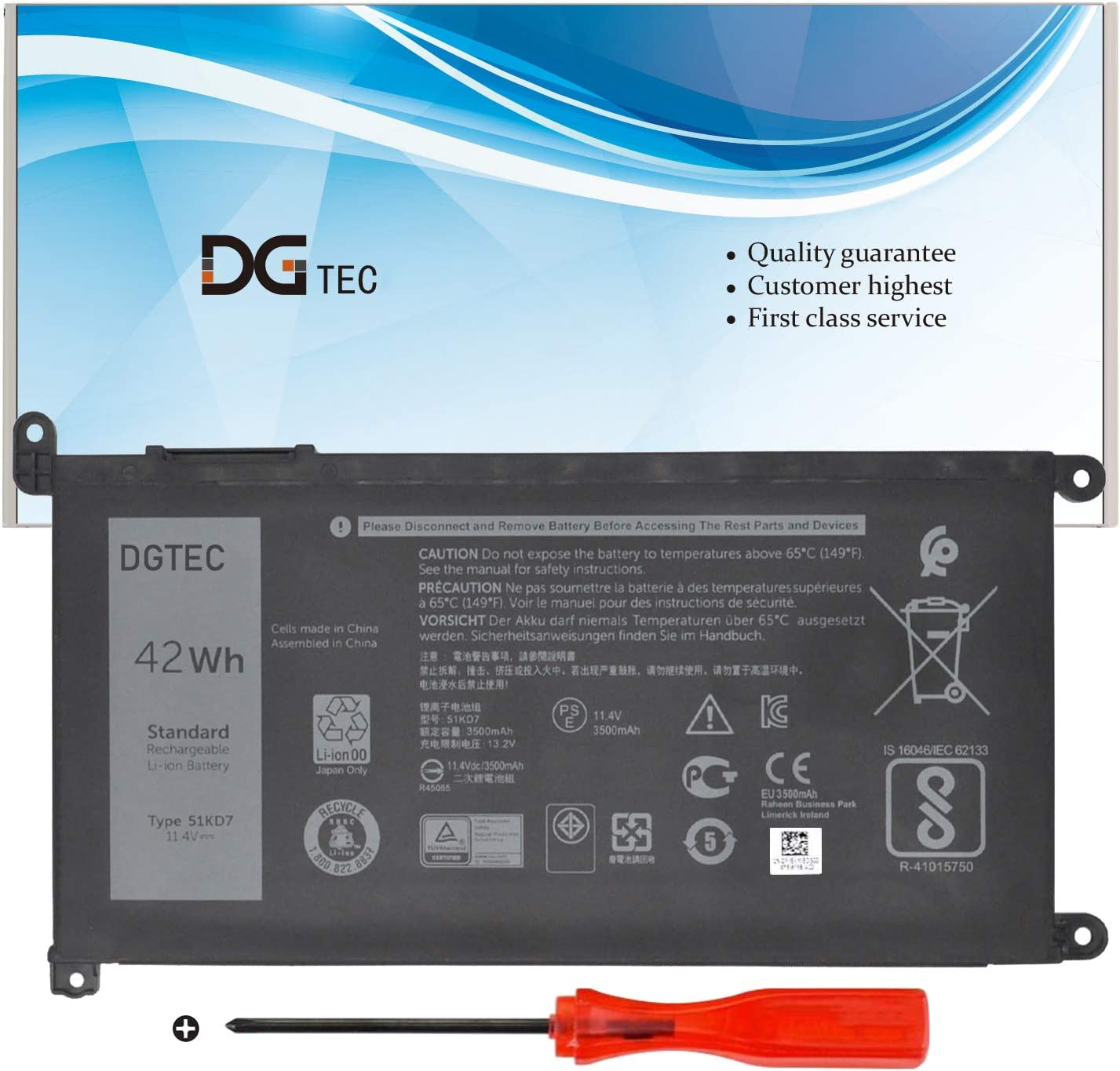 DGTEC 51KD7 Laptop Battery Replacement for Dell Chromebook 11 3180 3189 Series Y07HK FY8XM 0FY8XM (11.4V 42Wh/3500mAh/3-Cell)