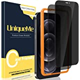 [2 Pack] UniqueMe Anti Spy Privacy Screen Protector Compatible for iPhone 12 Pro Max 6.7 inch, [Easy Installation Frame] [Ant