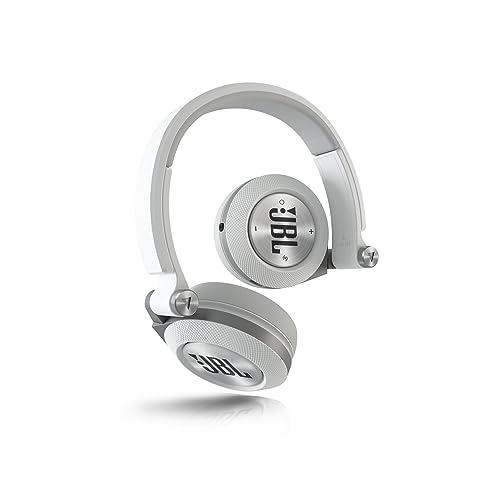 JBL E40 BT Auriculares supraaurales estéreo almohadillados recargables inalámbricos, compatible con dispositivos iOS de Apple y Android, color blanco