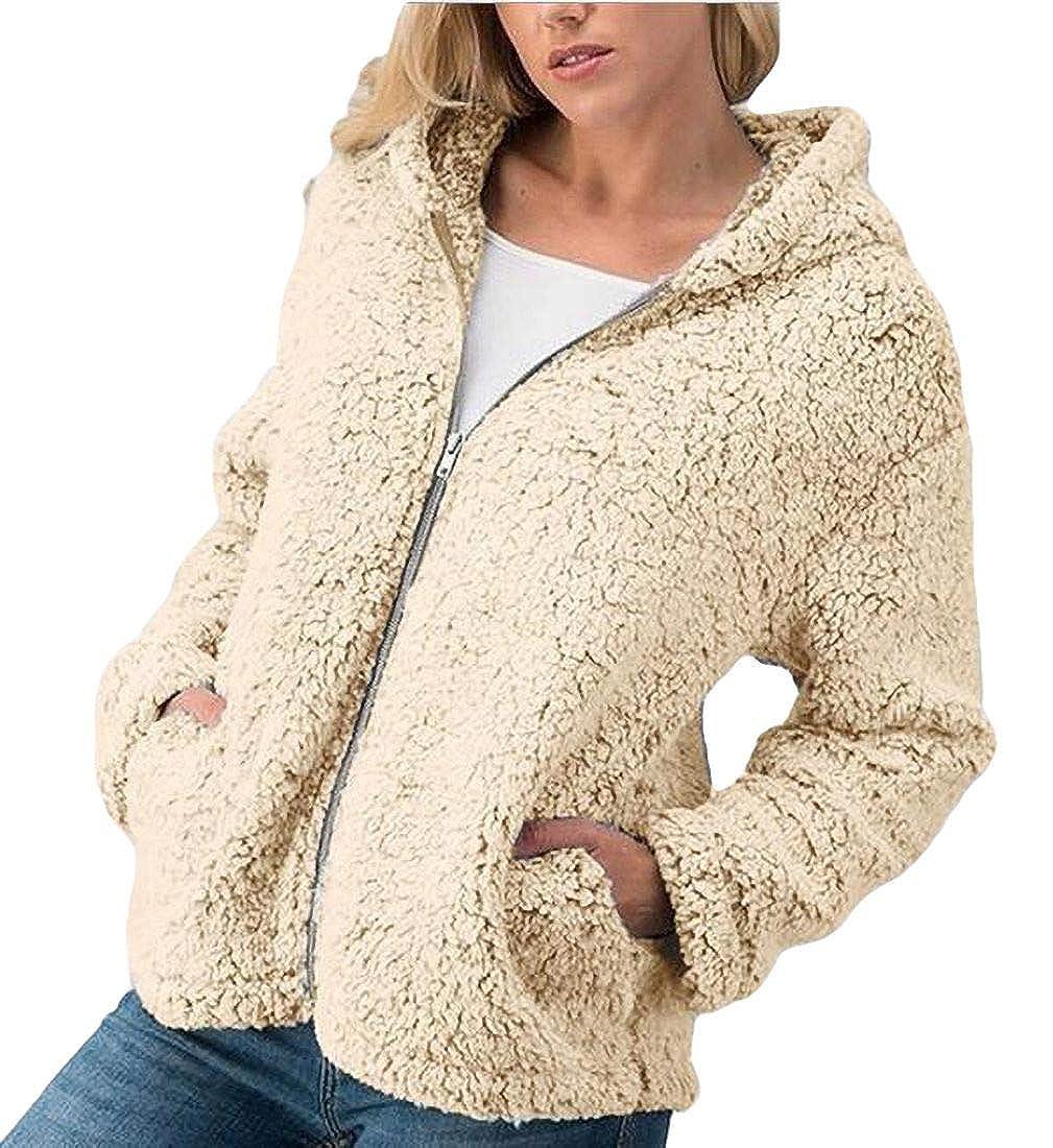 YYear Women Coat Fleece Zipper Pocket Fuzzy Sweatshirts Hoodies Tops