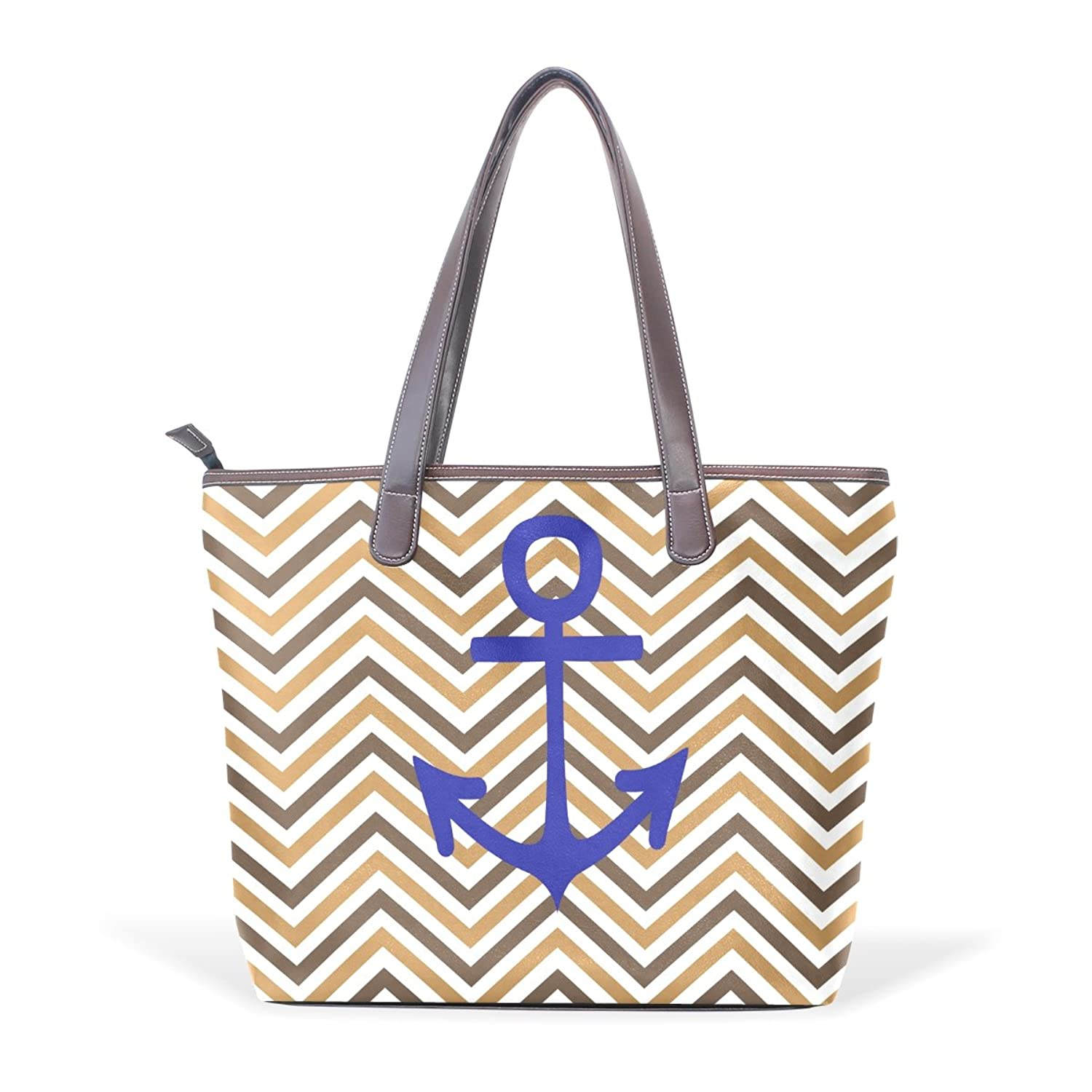 BYouLockX Brown Chevron And Anchor Pattern Leather Handbags Satchel ShoulderBag for Women