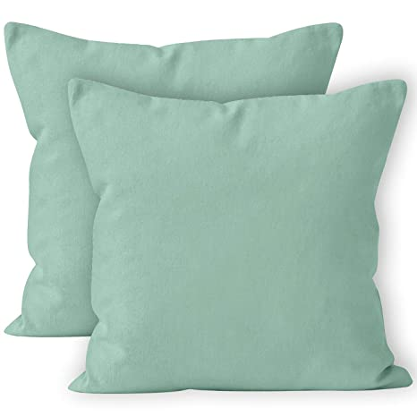 Encasa Homes Fundas de Cojines 2 Piezas (50x50 cm) - Menta Verde - Lona de algodón teñida Forma sólida, Decorativa, Grande y Colorida, Lavable Funda ...