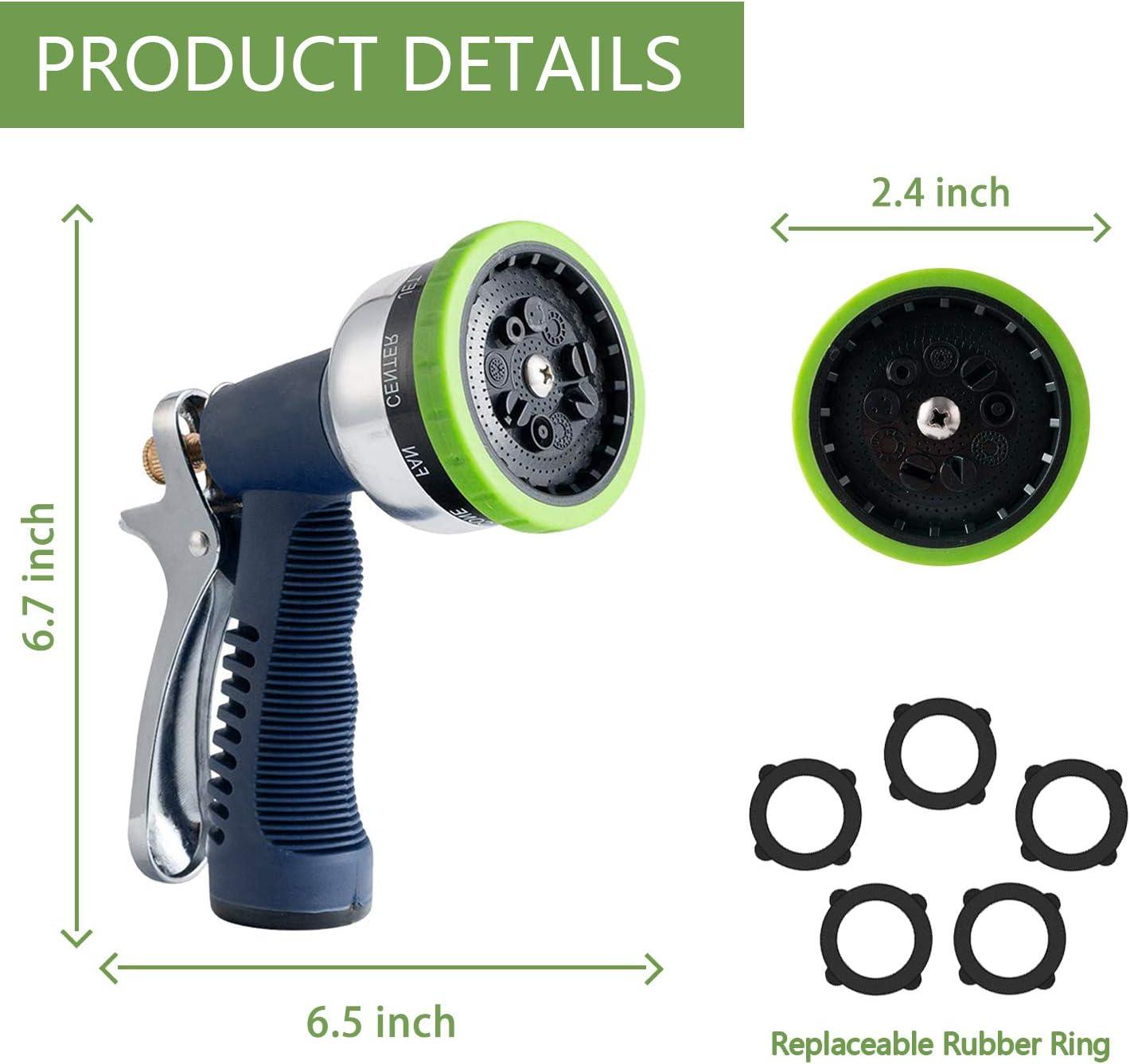 Hose Nozzle Garden, Hose Nozzle Heavy Duty Metal Hose Spray 9 Adjustable Patterns Water Jet Pistol Grip Trigger for Hand Watering Plants & Lawn, Car Washing, Garden and Patio/Pets Shower & More : Garden & Outdoor