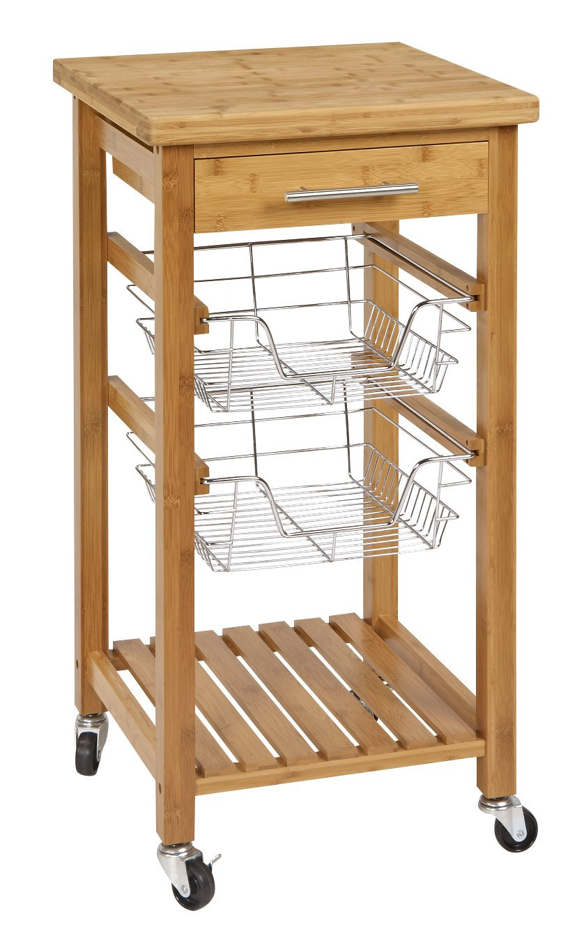 SpaceMaster SM-CSK-007 Rustic Bamboo 1 Drawer Rolling Kitchen Cart with Wire Storage Baskets Brown