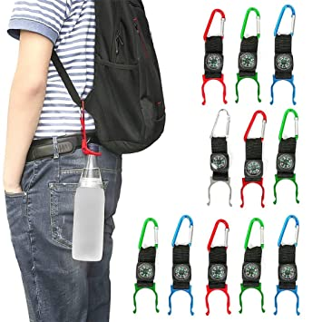 Arts,crafts & Sewing Lovely Outdoor Water Bottle Hook Clip Holder Buckle With Compass Camping Carabiners Water Buckle Holder Attractive Fashion Buckles & Hooks