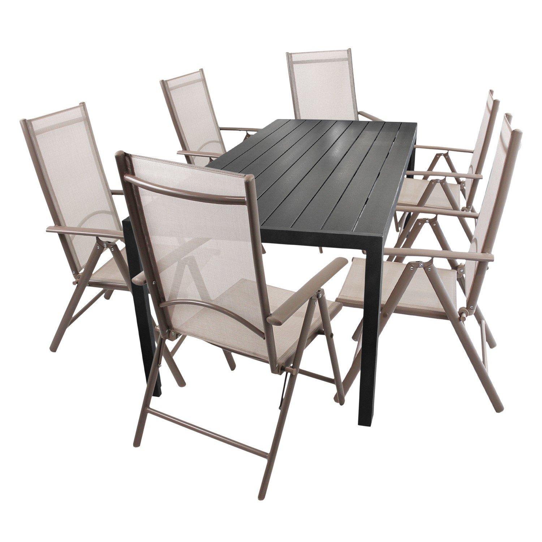 7tlg. Gartenmöbel Set Aluminium Polywood/Non Wood Gartentisch ...