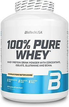 BioTechUSA 100% Pure Whey Complejo de proteína de suero, con aminoácidos añadidos y edulcorantes, sin conservantes, 2.27 kg, Mantequilla de avellanas ...