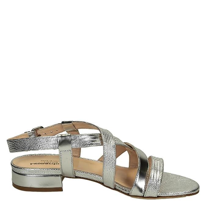 LEONARDO SHOES Damen 3126SILVER Silber Leder Sandalen