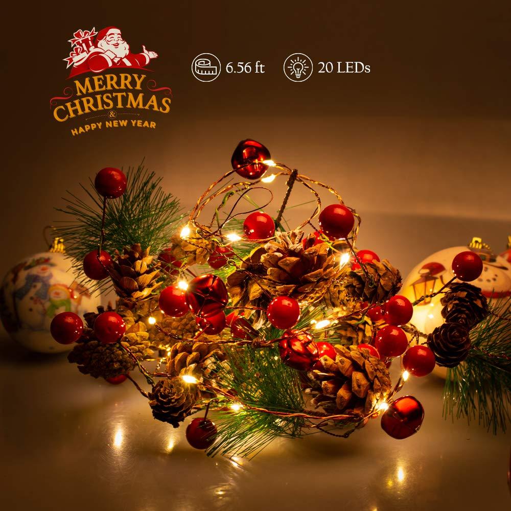 Catena Luminosa, Stringa di Luce, Decorazioni natalizie, 2M/20-LED String Light Artificiali Pinoli Stringa Filo luci Ghirlanda Decorazione Lampadina Filo con lucine per giardini, case, Natale, festa Guanda Direct