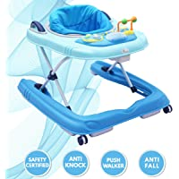 R for Rabbit Zig Zag Grand Baby Walker - The Anti Fall 3 in 1 Baby Walker Cum Push Walker for Babies with Adjustable Height and Musial Toy Bar(Blue)