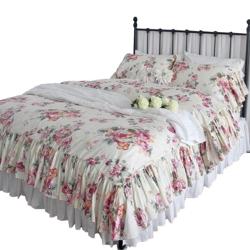 女王の家 フリル付き 綿100% 枕カバー ピロケース キングサイズ ビンテージ 寝具カバー3点セット B07FK973DY スタイルD キング