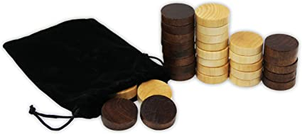 30 Replacement Ridged Game Chips with Cloth Storage Bag Da Vinci Solid Wood Backgammon /& Checkers Pieces 1 Inch