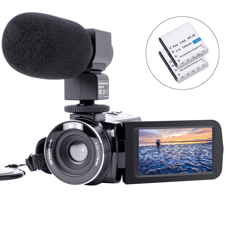 HAOHUNT カムコーダー ビデオカメラ デジタルカメラ レコーダー ブログカメラ HD 1080P 24.0MP 3.0 インチ LCD 180度 回転式スクリーンカメラ 外部マイクとバッテリー2個 (303SM)   B07DLQZCG4