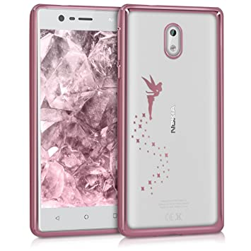 timeless design 429de e7d12 kwmobile Crystal TPU Case for Nokia 3 - Soft Flexible Transparent Silicone  Protective Cover - Rose Gold/Transparent