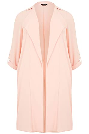 458e25737a504 Yours Women s Plus Size Light Lightweight Duster Jacket with Waterfall  Front Size 16 Pink
