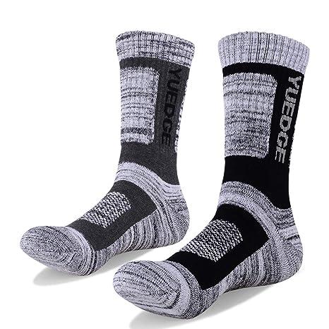 YUEDGE 2 Pares de Algod/ón Cushion Crew Calcetines Entrenamiento Senderismo Caminar Deportes Atl/éticos Calcetines para Hombres