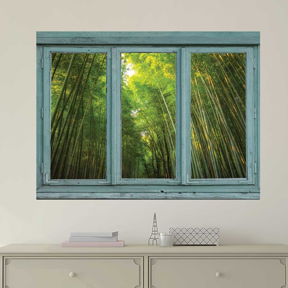 Vintage Teal Window Looking Out Into a Green Bamboo Forest Wall