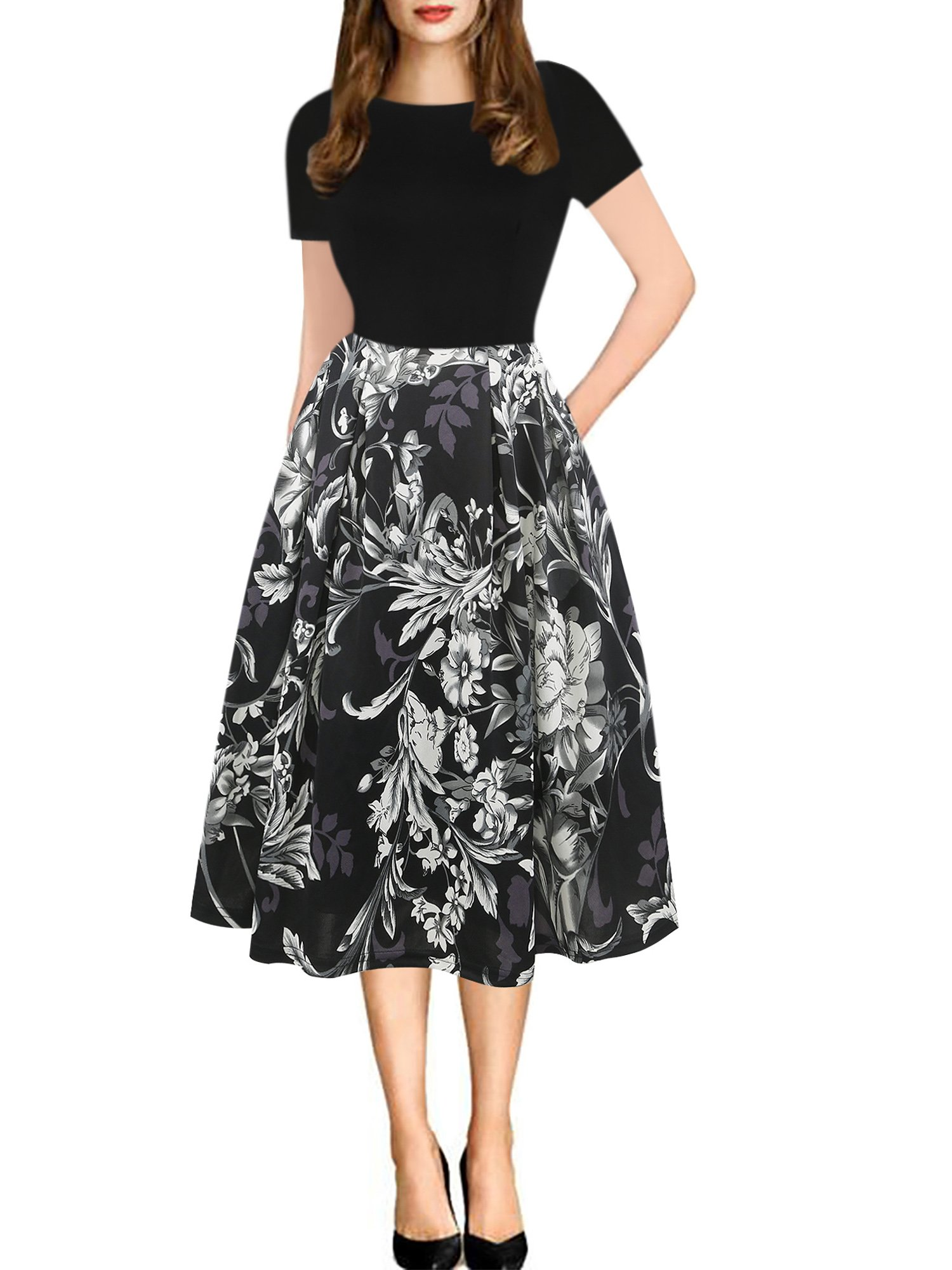 oxiuly Women's Vintage Patchwork Pockets Wedding Evening Swing Dress Casual Party Work Summer Dress OX165 (XL, Black Gray)