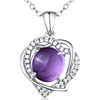 Natural Gemstone Amethyst, Swiss Blue Topaz & Sterling Silver Pendant Necklace, Fine Jewelry Birthday Gift for Women