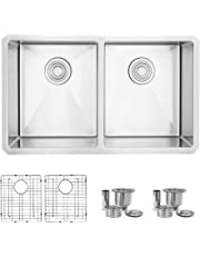 30-Inch Topmount or Undermount Kitchen Sink,50/50 Double Bowl, 18 Gauge Stainless Steel, S-304TG (18 Gauge with Grids)